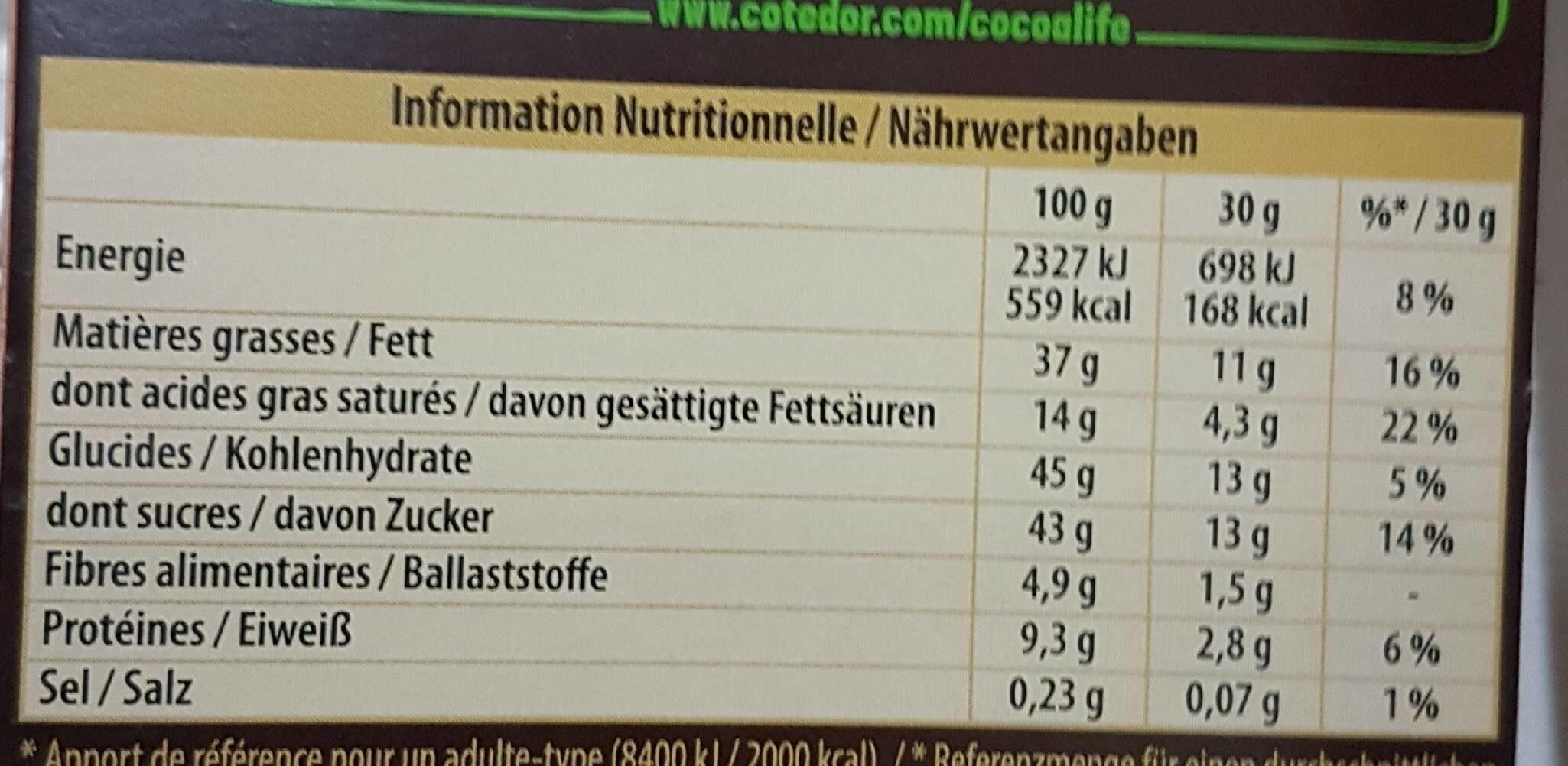 Côté d'or noisettes entières lait - حقائق غذائية - fr