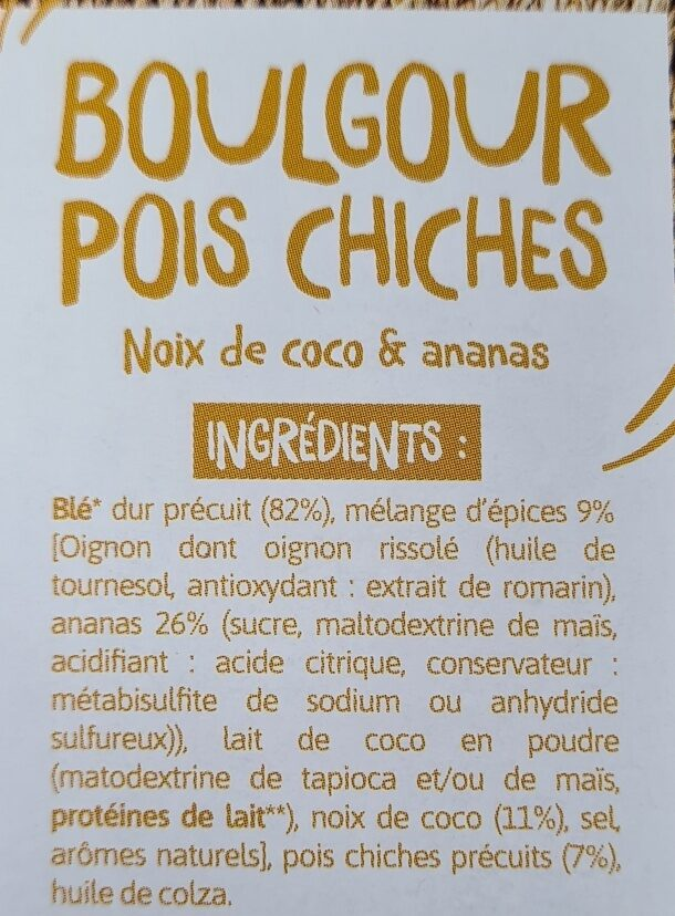 Boulgour & Pois chiches  Noix de Coco et Ananas - Ingredients - fr