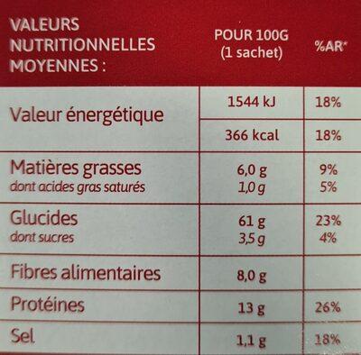 Boulgour & Pois chiches Oignons et Lardons - Nutrition facts - fr