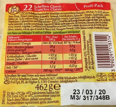 Fol Epi Classic - Informations nutritionnelles - en