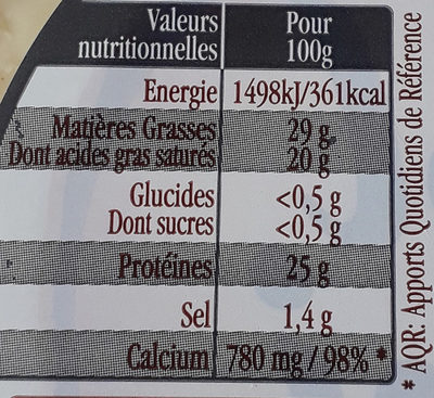 FOL EPI, tranches extra fines 3 poivres - Nutrition facts - fr