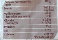 Fol Epi - Nutrition facts - fr