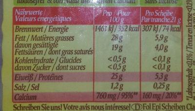 Fol Epi - Classic +1 Scheibe gratis - Informations nutritionnelles - fr