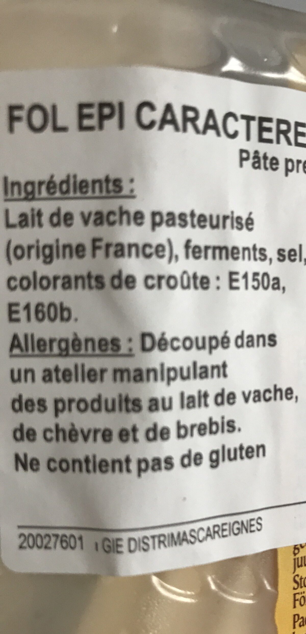 Fol Epi caractere intense & nutty - Ingrédients