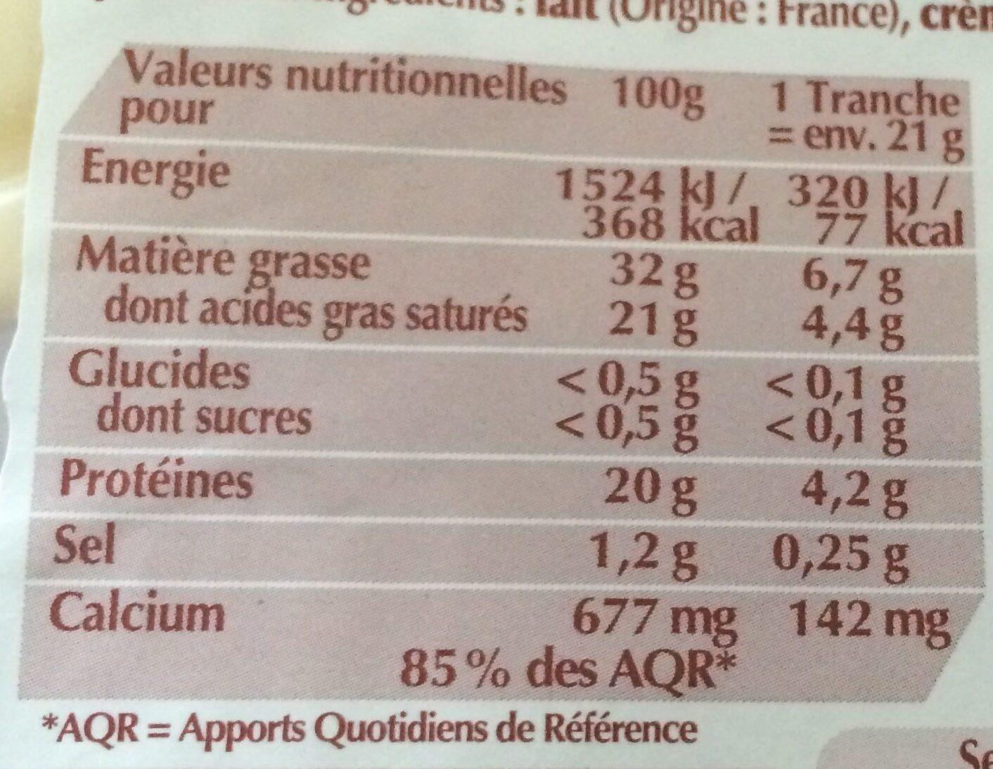 Fol Epi tranché au lait pasteurisé extra fondant, 29% de MG - Informations nutritionnelles - fr