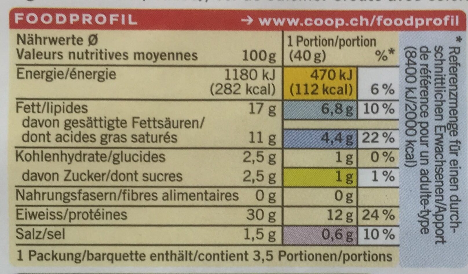 Fol Epi -40% MG - Informations nutritionnelles