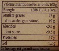 Le Vieux Pané - Brique intense & fondante - Informations nutritionnelles