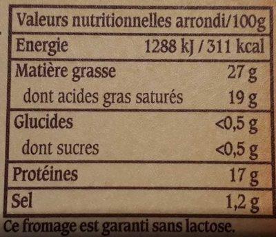 Le Vieux Pané - Brique intense & fondante - Informations nutritionnelles - fr