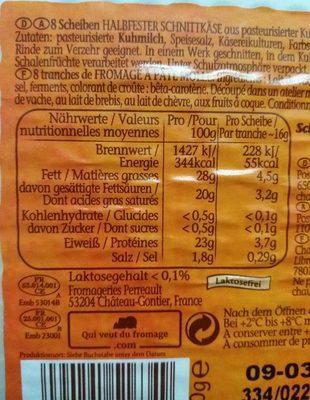 Chaumes tranches moelleuses avec du caractère - Informations nutritionnelles