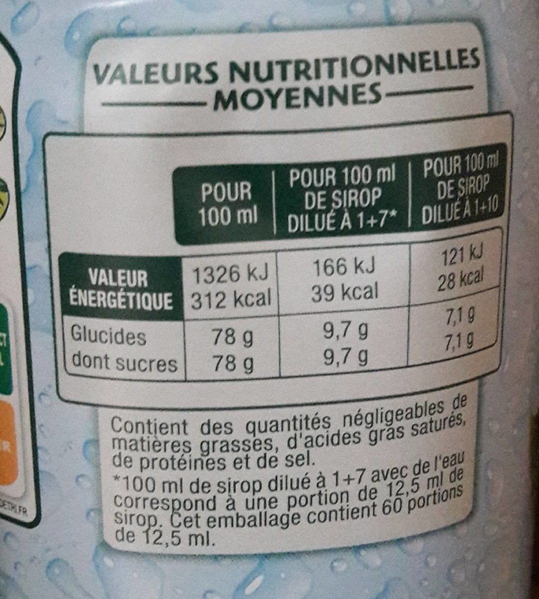 Sirop de Menthe Verte - Nutrition facts