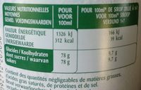 Sirop Menthe Verte - Nutrition facts