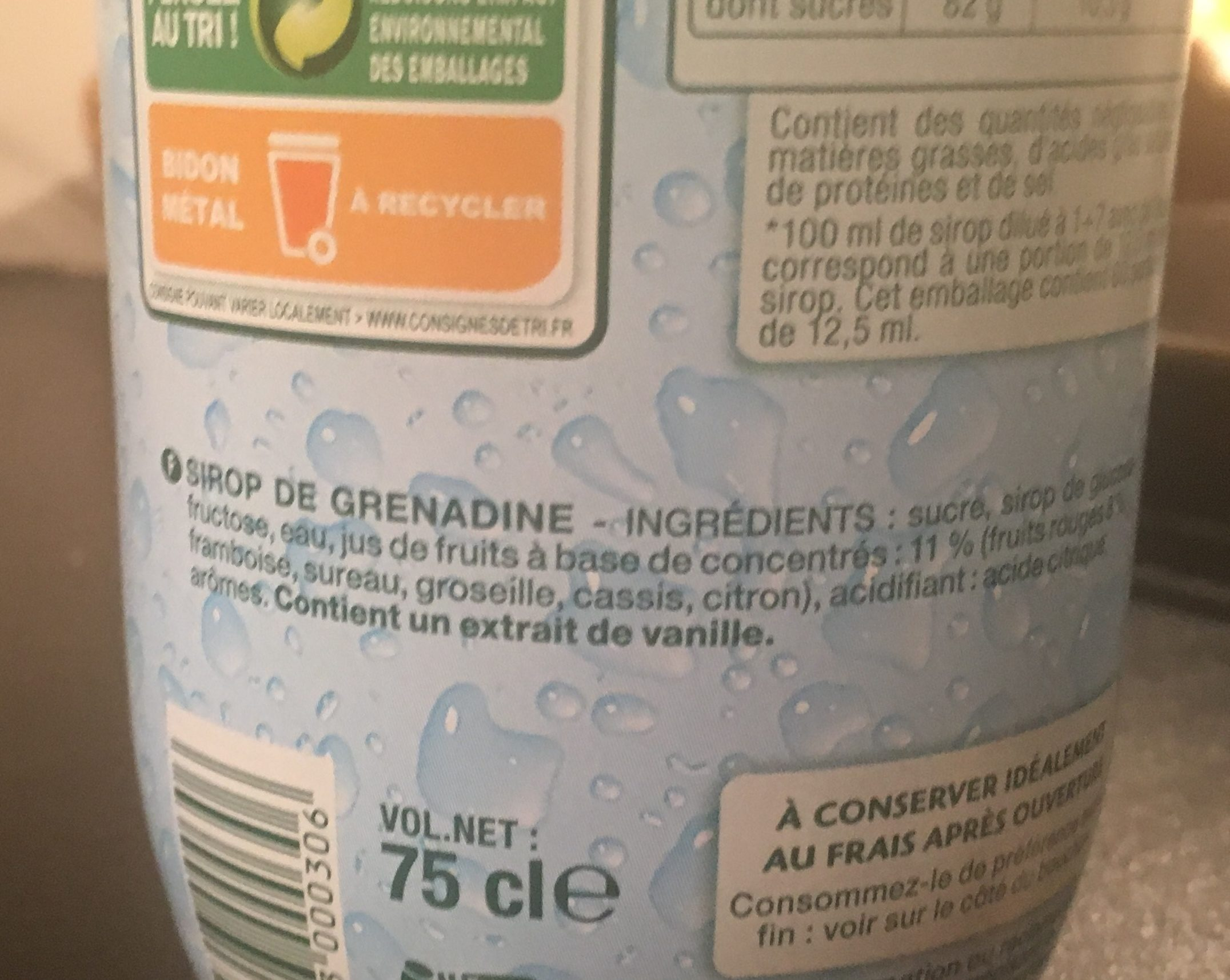 Sirop de Grenadine - Ingrediënten