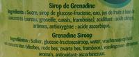 Mega Grenadine - Ingrédients - fr