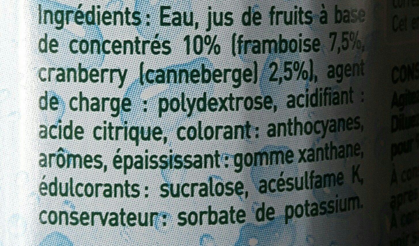 Sirop Framboise Cranberry 0% de sucre - Ingrediënten