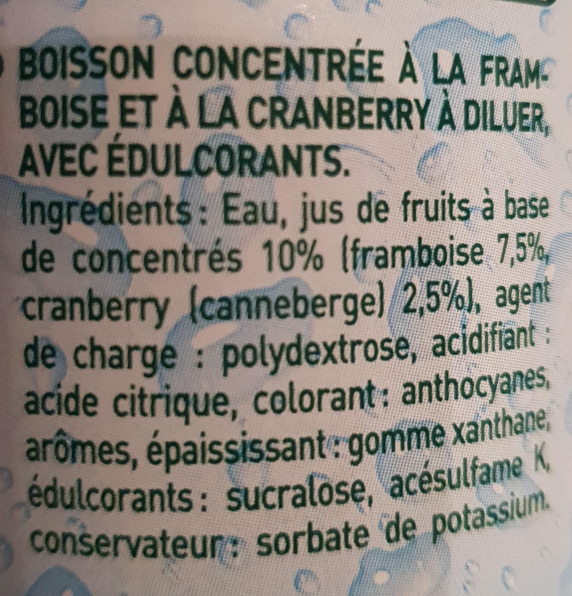 Sirop framboise et cranberry zéro sucre - Ingredienti - fr