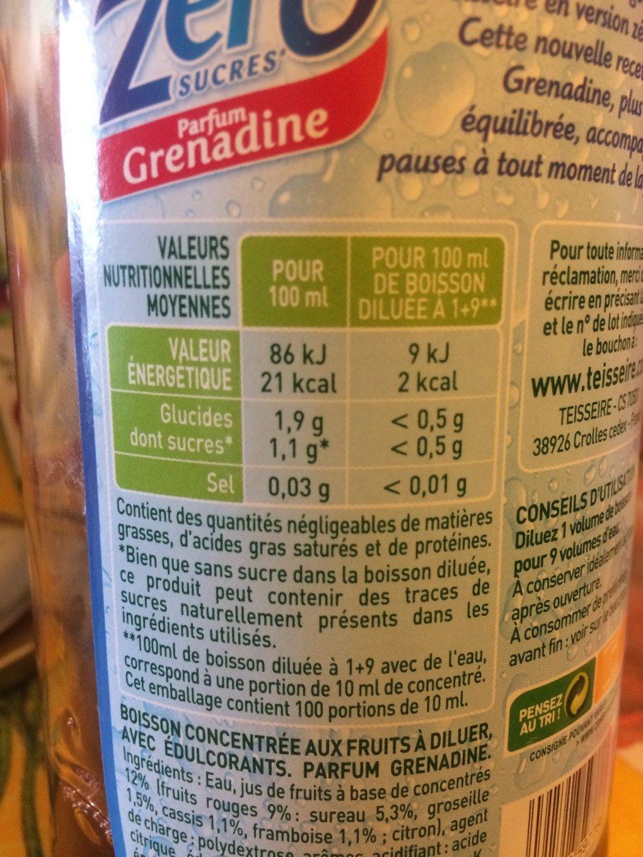 Sirop Teisseire 0% Grenadine - Voedigswaarden