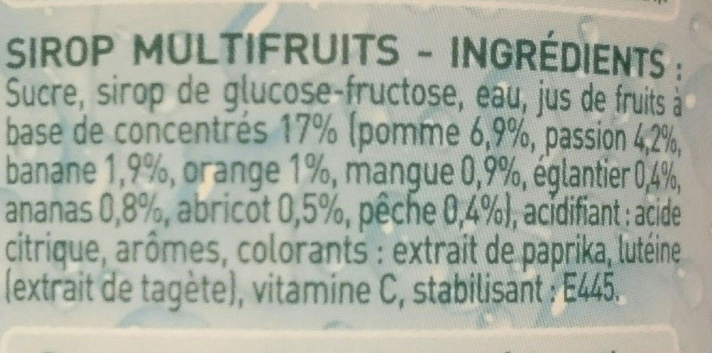 Sirop multifruits - Ingredients - fr