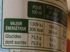 Sirop de Pamplemousse - Nutrition facts