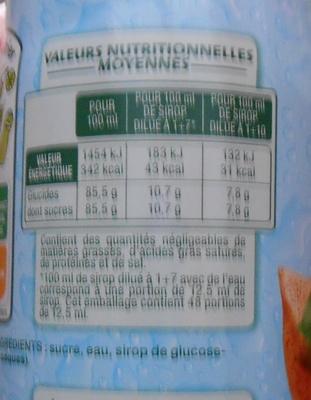 Sirop d'Orgeat - Informations nutritionnelles - fr