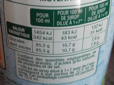 Sirop de Framboise - Informations nutritionnelles - fr