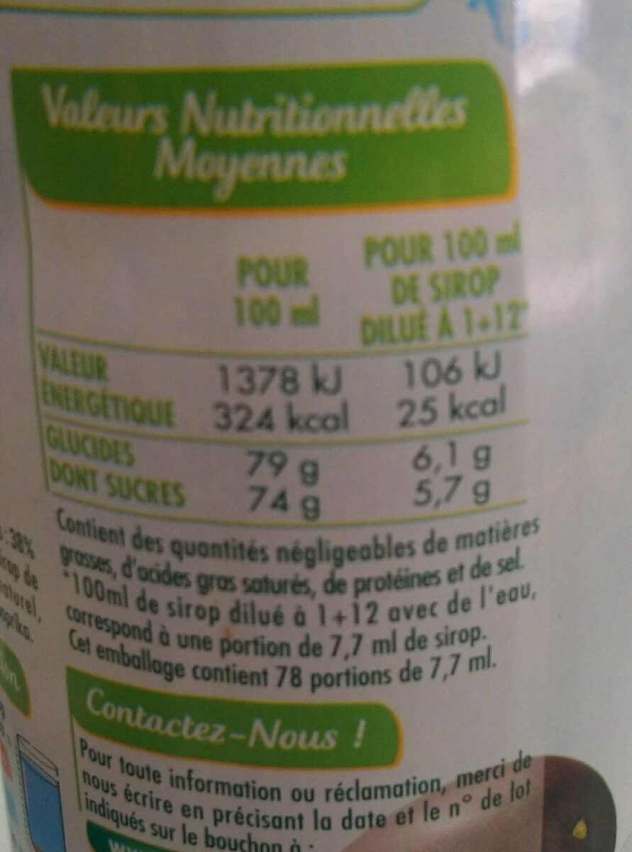 Sirop fruit de la passion - Valori nutrizionali - fr