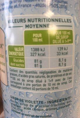 Sirop de violette - Nutrition facts - fr
