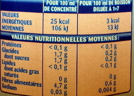 Teisseire Zero Sucre Agrumes - Informations nutritionnelles - fr