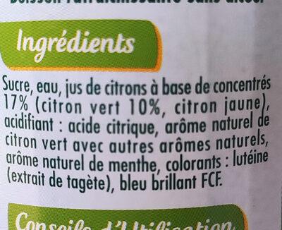 Sirop Virgin Mojito Menthe et Citron Vert - Ingredients - fr
