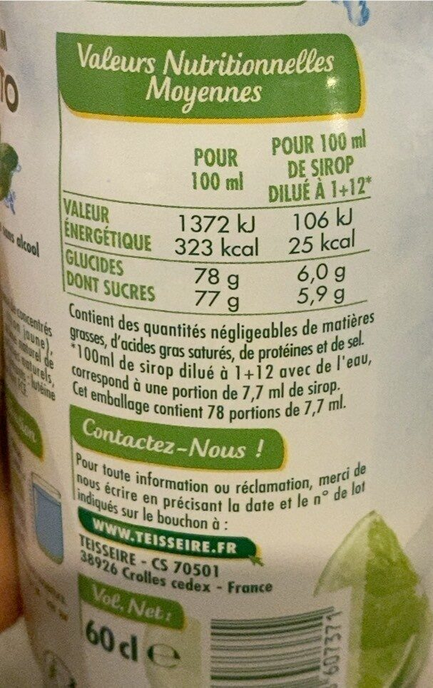 Sirop Mojito - Informations nutritionnelles - fr