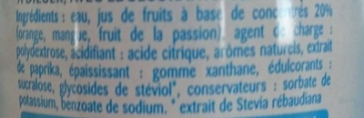 Tropical Zéro Sucres - Ingredienti