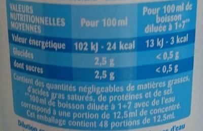 Tropical 0% - Informations nutritionnelles