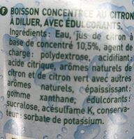 Sirop Citron Zéro sucres - Ingrédients - fr