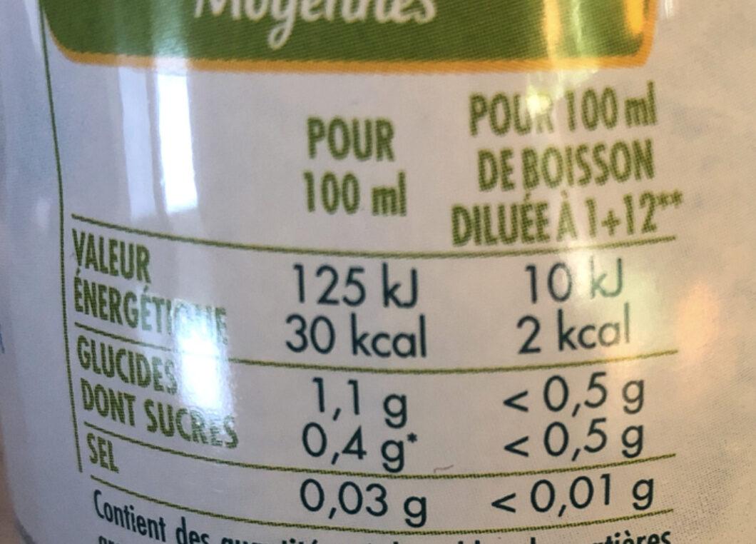Sirop Citron Zéro sucres - Informations nutritionnelles - fr