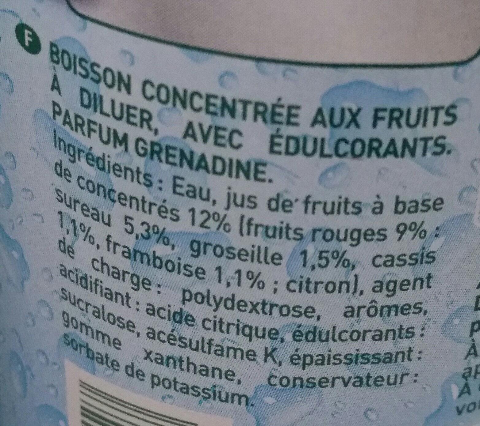 Sirop parfum grenadine 0% de sucre - Ingrédients