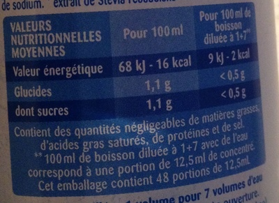 Sirop parfum grenadine 0% de sucre - Voedingswaarden