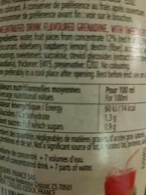 Sirop sans sucre grenadine - Informations nutritionnelles