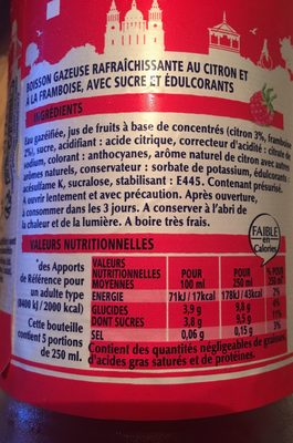 Limonade framboise - Ingrédients