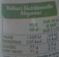 Sirop de citron vert - Voedingswaarden - fr