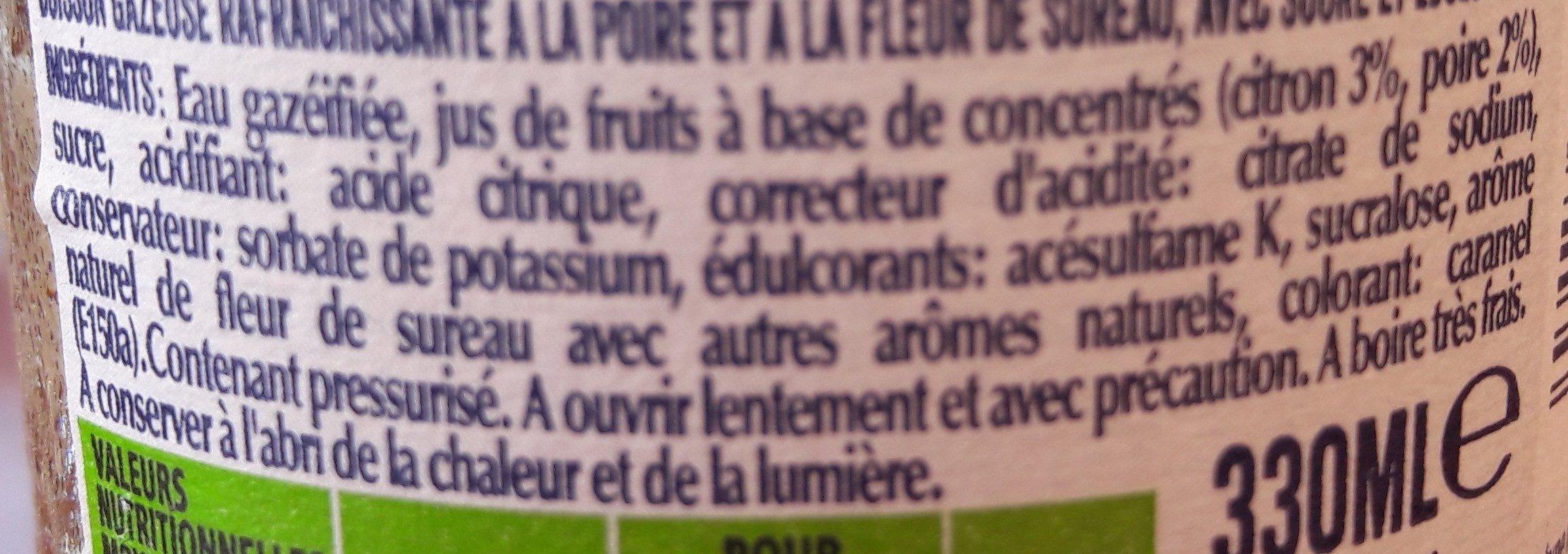 Limonade poire fleur de sureau - Ingrédients - fr