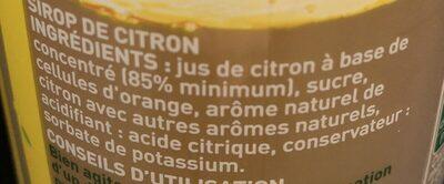 Fraîcheur fruit Citron - Ingrédients