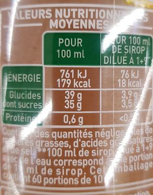 Fraîcheur fruit Citron - Informations nutritionnelles