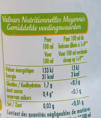 Mojito zéro - Voedingswaarden