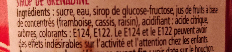 Sirop de grenadine - Ingrédients - fr