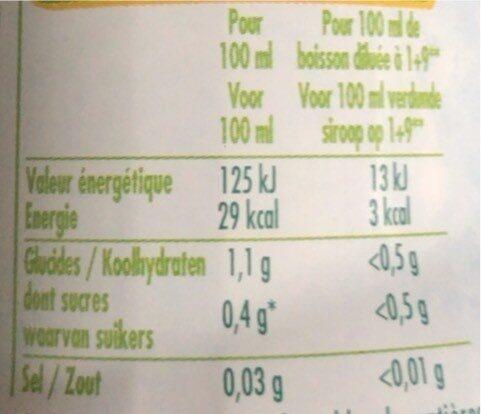 Zitrone / Limette 0% Zucker - Informations nutritionnelles - fr
