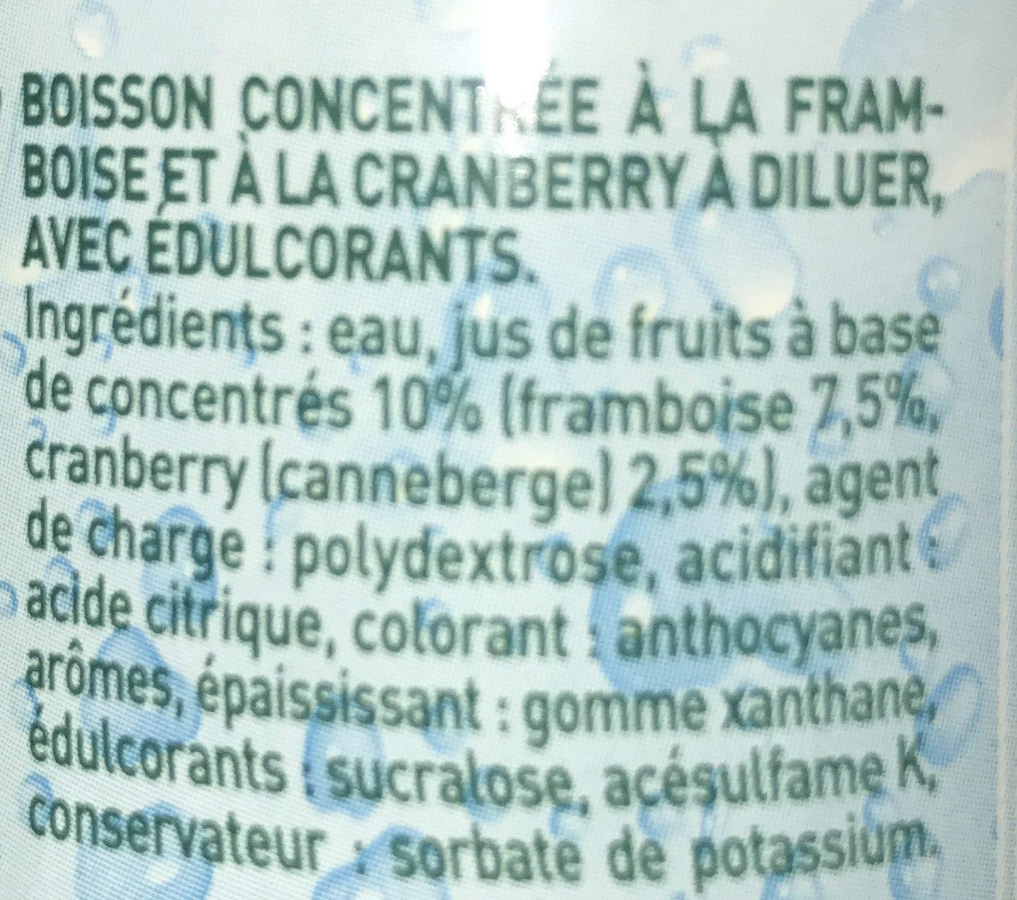 Framboise Cranberry 0 % de sucre - Ingredients