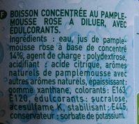 Sirop de pamplemousse rose zero sucres - Ingrediënten - fr