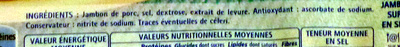 Le Jambon de Paris (- 25 % de Sel) 4 Tranches + 2 Gratuites - Ingrediënten