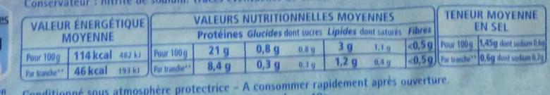 Le Jambon de Paris (- 25 % de Sel) 4 Tranches + 2 Gratuites - Nutrition facts - fr