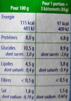 Le bâtonnet Moelleux - 10 bâtonnets - Voedingswaarden - fr