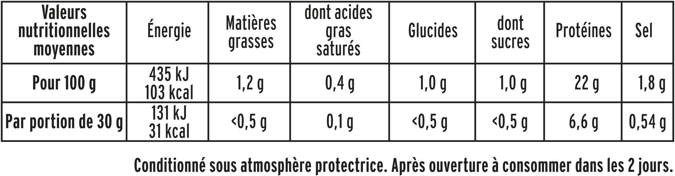 Rôti de dinde cuit Halal - 4tr - Informations nutritionnelles - fr